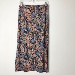 J. Jill women's pull on paisley print maxi skirt